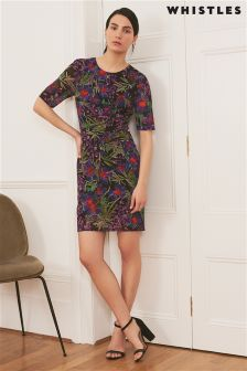 Whistles Navy Maria Floris Print Bodycon Dress