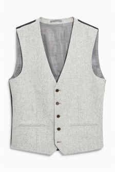 Nep Fabric Skinny Fit Suit: Waistcoat