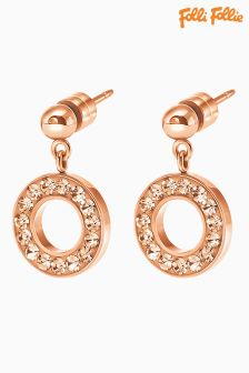 Folli Follie Rose Gold Classy Crystal Earrings