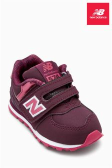 New Balance Burgundy Metallic 574 Velcro
