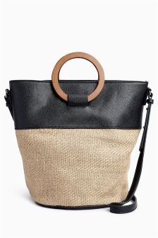 Wooden Handle Bucket Bag
