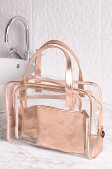 Set Of 4 Rose Gold Make Up Bag