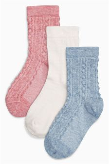Sparkle Cable Socks Three Pack (Older Girls)