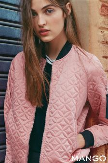 Mango Pink Quilted Bomber Jacket