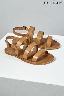 Jigsaw Cream Kea Multi Strap Flat Sandal