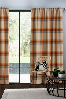 Ashworth Woven Check Pencil Pleat Lined Curtains