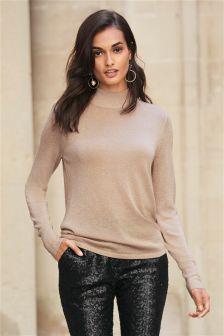 Metallic Wrap Back Sweater