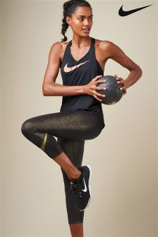 Nike Training Black And Gold Tank