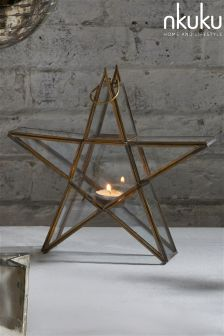 Nkuku Small Standing Star Brass Lantern