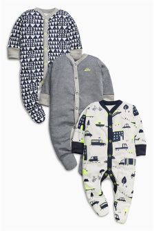 Transport Print Sleepsuits Three Pack (0mths-2yrs)