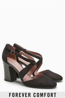 Two Part Cross Block Heel Shoes