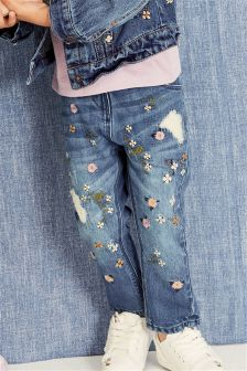 Floral Embroidered Jeans (3mths-6yrs)