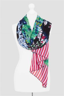 Floral Stripe Spliced Scarf