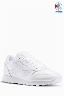 Reebok White Pearlized Classic Leather Trainer