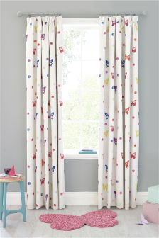 Watercolour Butterfly Printed Blackout Pencil Pleat Curtains