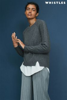 Whistles Grey Ribbed Sleeve Cashmere Knit