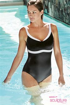 Speedo® Black/White Sculpture Aqua Jewel Swimsuit
