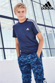 adidas Navy College 3 Stripe T-Shirt