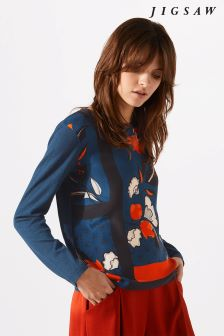 Jigsaw Blue Nordic Floral Border Silk Front Jumper