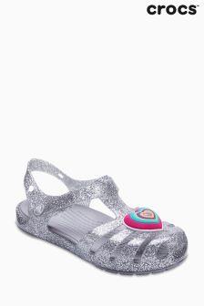 Crocs Silver Glitter Isabella Heart T-Bar Sandal