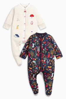 Print Sleepsuits Two Pack (0mths-2yrs)