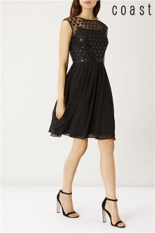 Coast Black Lori Lee Cluster Dress