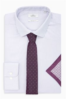 Oxford Regular Fit Shirt With Tie And Pocket Square