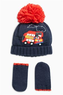 London Bus Hat/Gloves Set (Younger Boys)