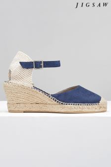 Jigsaw Blue Heeled Espadrille