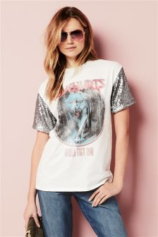 Sequin Sleeve Band T-Shirt