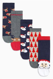 Christmas Socks Five Pack (Older Boys)