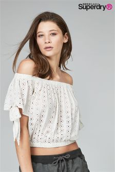 Superdry White Bardot Top