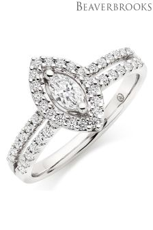 Beaverbrooks Platinum Diamond Marquise Halo Ring
