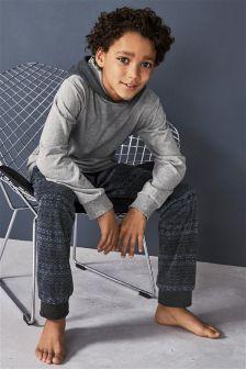 Fairisle Pattern Hoody Pyjamas (3-16yrs)