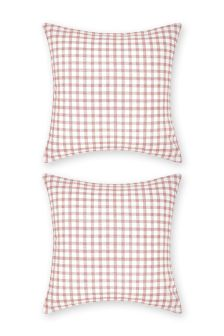 Set Of 2 Sketch Check Square Pillowcases