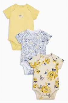 Giraffe Floral Bodysuits Three Pack (0mths-2yrs)