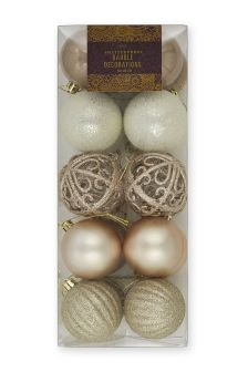 Set Of 20 Gold Effect Baubles