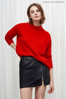 French Connection Red Lena Knits High Neck Jumper