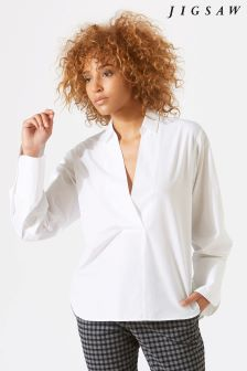 Jigsaw White Cotton Poplin Shirt
