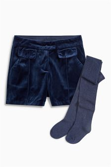 Velvet Shorts And Tights Set (3-16yrs)