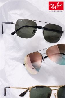 Ray-Ban® Black Polarised Rimless Sunglasses