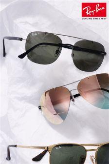 Ray-Ban® Black Polarised Rimless Sunglasses