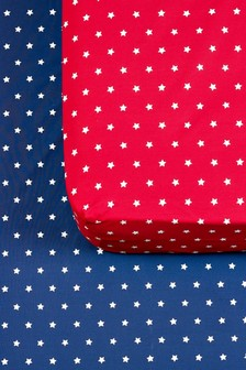 2 Pack Stars Print Fitted Sheets