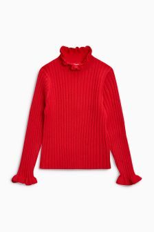 Flute Sleeve Ribbed Roll Neck Sweater (3-16yrs)