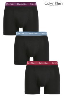 Calvin Klein Black With Blue/Red/Plum Trunks Three Pack