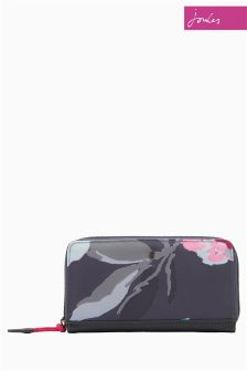 Joules Grey Beau Bloom Purse With Zip Fastening