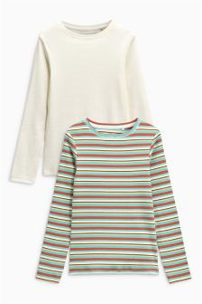 Stripe Long Sleeve Tops Two Pack (3-16yrs)
