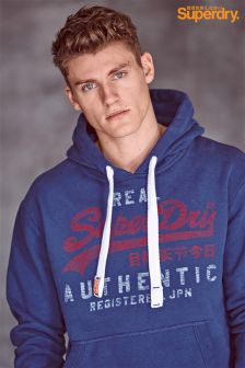 Superdry Blue Faded Script Logo Hoody