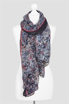 Ditsy Print Sequin Scarf