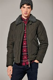 Borg Collared Quilted Jacket